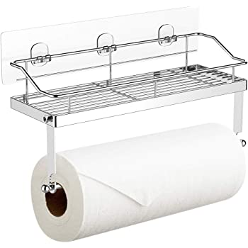 Self Adhesive Wall Mounted Towel Rod Shelf Rack Holder Toilet Roll Paper Hang/_sh