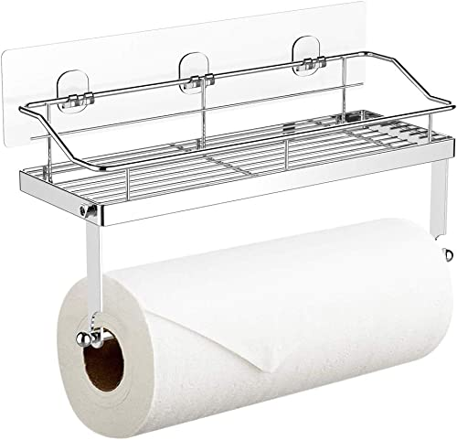 Adhesive Paper Towel Holder with Shelf Storage, Wall Basket for Kitchen & Bathroom Accessories, SUS 304 Stainless Ste...