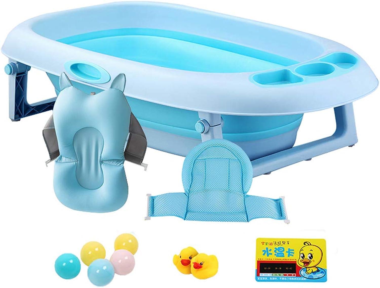 GY Baby Folding Bathtub Portable Shower Pots Non Slip Insulation Plastic With Suspension Cushion Home Newborn Swim Bath Barrel 2 colors 91  32  59cm (color   bluee+C)