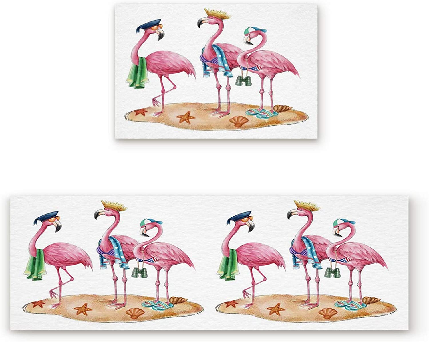 Findamy Non-Slip Indoor Door Mat Entrance Rug Rectangle Absorbent Moisture Floor Carpet for Cartoon Flamingo Family of Three Doormat 19.7x31.5In+19.7x47.2In