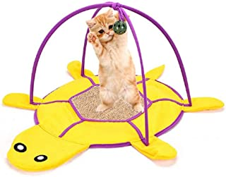 LucaSng Cat Play Mat,Large Size Cat Activity Center with Hanging Toy Balls, Turtle Shape Sisal Cat Scratching Mat(Yellow)