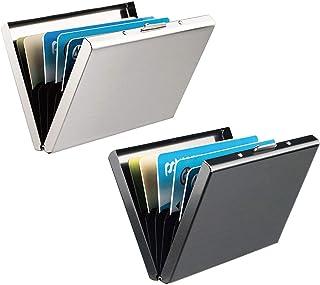 RFID Blocking Porta Carte di Credito, Leenou 2 Pezzi Portafoglio Carte Credito in Alluminio, Portafoglio Elegante Viaggi -...