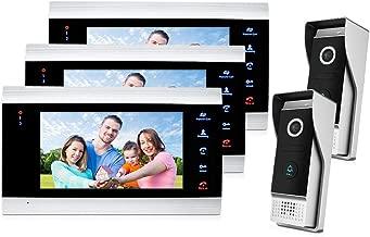 Jeatone Video Door Phone Intercom System Multi-unit Apartment Intercom Entry Kit, 7 Inch Video Doorbell Camera Units For Apartment 3V2, Support Monitoring, Unlock,IR Night Vision