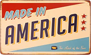 HANTAJANSS Made in America Metal Signs Retro Vintage The Land of The Free Tin Signs 12 X 8 Inches