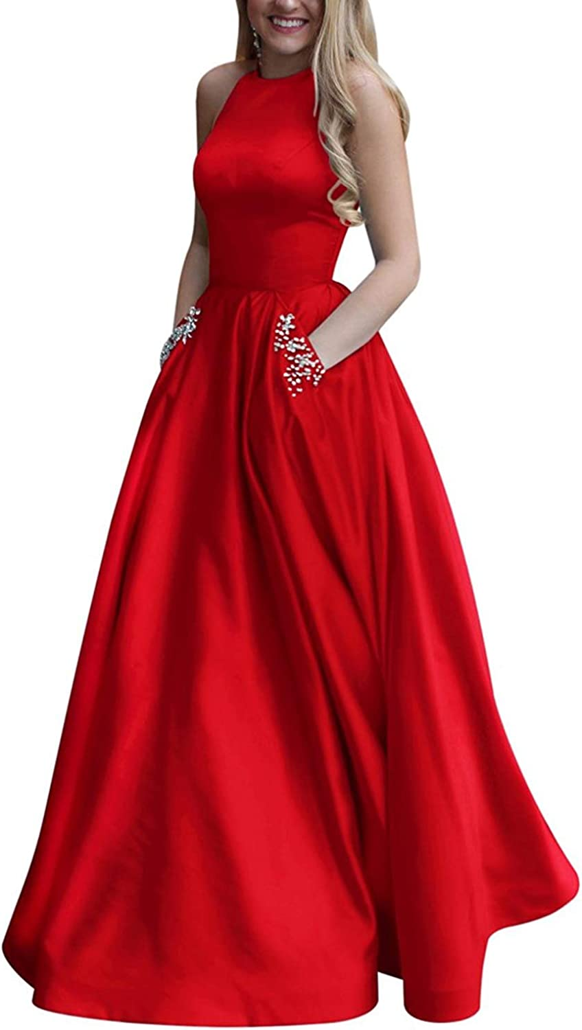 20KyleBird Sexy Halter Aline Long Prom Gowns with Pockets Satin Beaded Open Back Evening Dresses for Women Plus Size