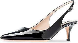 Amarantos Women's Patent Leather Pointed Toe Elegant Kitten Heel Slingback Dress Pump Shoes