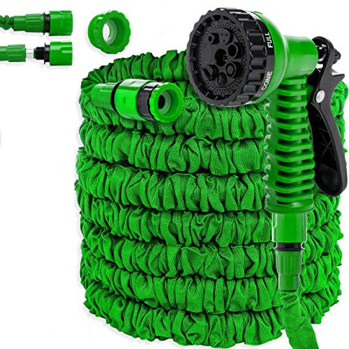 KESSER® Gartenschlauch 30m Flexibler Basic Wasserschlauch Flexible dehnbarer Flexischlauch Multisfunktionsbrause mit 8 Funktionen, Adapter inkulsive passend für jeden Wasserhahn mit Gewinde, Grün