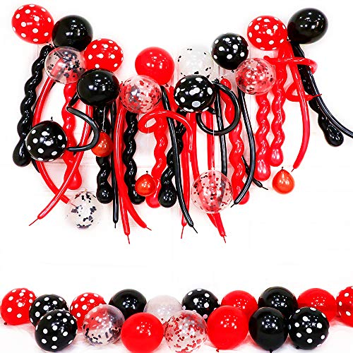 Black Red Party Balloons 12inch Happy Birthday Balloons Black and Red Balloons Set with Confetti Balloons 260Q Long Balloons Spiral Balloons for Birthday Party, Baby Shower, Bridal Shower etc.