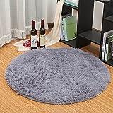 HTDirect Alfombra de dormitorio súper suave, moderna, circular, alfombra decorativa para sala de estar, alfombra redonda, para jugar al cuarto de baño (gris, 120 x 120 cm)