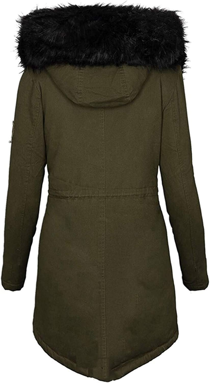 HGWXX7 Jacket for Women Zip Up Faux Fur Hood Parka Jacket Casual Plus Size Waist Drawstring Winter Coats with Pocket Army Green