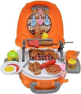 RANRANJJ 子供のためのポータブルふりプレイクッキングセット料理効果食品 - 男の子&女の子のための楽しいプレイセット(バーベキューセット)