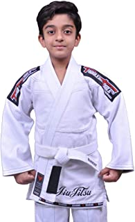 Twister Kids Jiu Jitsu Gi Ultra Light Pearl Weave Fabric 400Gram Youth Gi with Gi Bag & White Belt Included