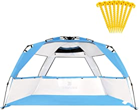 Gorich Easy Set Up Beach Tent with SPF UV 50+ Protection, Beach Sun Shelter Canopy Cabana for Family Trip, Portable 4 Person POP UP Beach Umbrella Beach Shade for Camping Sports Fishing