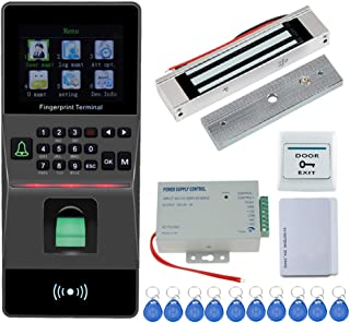 HFeng Door Access Control System Kit IP/TCP RFID Biometric Fingerprint Keypad +180KG Electric Magnetic Lock+ Power Supply Support USB/RS485 Attendance Machine Time Card Machines 125KHz EM Key Card