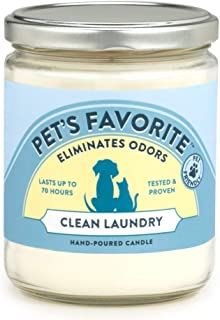 Pet's Favorite - Tested & Proven - Odor Eliminating Candle in 4 Great Fragrances, Pet-Friendly Scented Candle - 70-Hour Burn Time, Cotton Wick - Clean Laundry