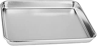 Rykey Stainless Steel Toaster Oven Pan Tray Ovenware, Big Size 12.4'' x 9.65'' x 0.98'', Rust Resistant & Healthy, Mirror Finish & Deep Edge, Easy Clean & Dishwasher Safe