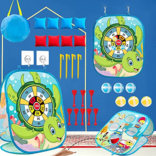 Bean Bag Toss Game Toys for Kids Outdoor Beach Games Dart Board for Kids Outside Indoor Fun Gift Toys for Toddlers Family Corn Hole Game Set for Boys Girls Age 3-5 4-8 3 in 1 for Adults and Family