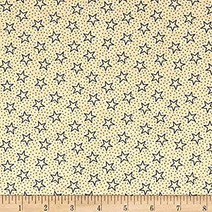 Santee Print Works Patriotic 108'' Quilt Backs Star Dot Fabric, Navy/Antique, Fabric By The Yard