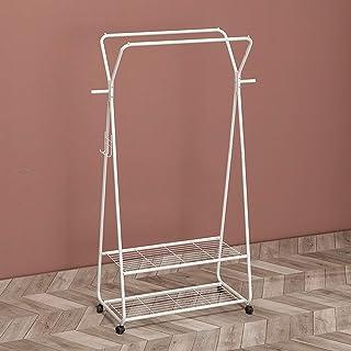 Porte-manteau sur pied, support de tringle à vêtements en métal avec rail de suspension et étagère de rangement inférieure...