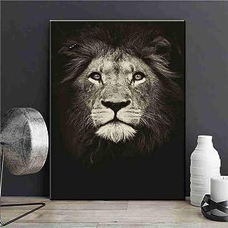XIANRENGE Impression HD Poster Imprimé sur Toile,Tête De Lion Moderne Abstrait Animaux Art Mural Grand Format Inkjet Photo...