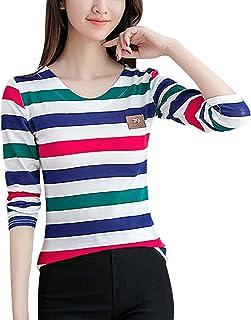 CHICFOR Long Sleeve Striped T Shirts Blouse Top for Petite Women Teen Girls