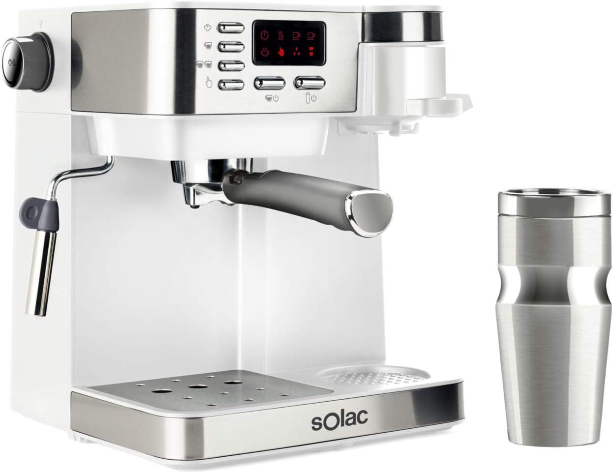 Solac CE4497 Multi Stillo 20 bar - Cafetera combinada multifunción 3 en 1: cafetera espresso + cafetera goteo + capuccino. Termo Portátil 320ml Inox. Libre BPA. Extra Cream. Vaporizador. Blanco/Inox.