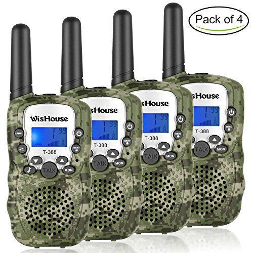 WisHouse Walkie Talkies for Kids,Popular Toys for Boys and Girls Best Handheld Woki Toki with Flashlight,License Free Kids Survival Gear for Hunting and Outdoor Adventure(T388 Camouflage 4 Pack)