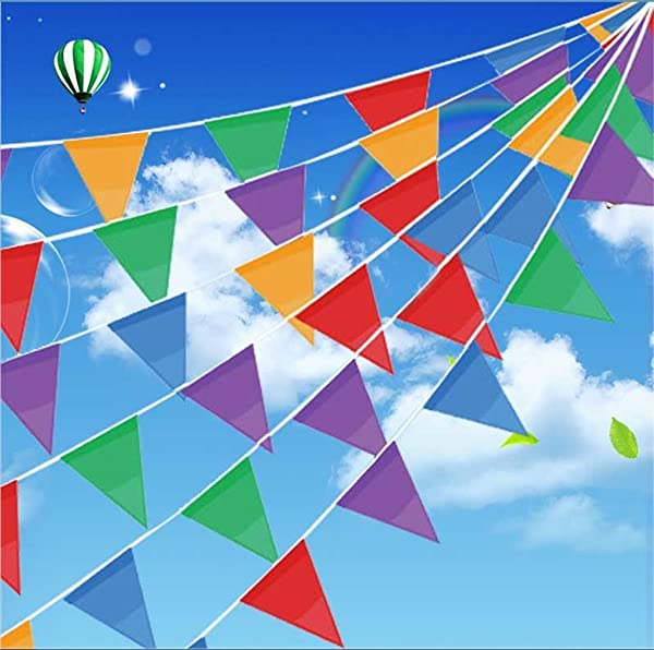 IsPerfect 300 Pcs Multicolor Pennant Banner Flags 375 Ft For Party Decorations Birthdays Festivals Christmas Decorations