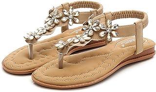 ビーチ サンダル レディース花柄 ペタンコ 歩きやすい アンクルストラップ 編込み ビジューラインスKaiweini 歩きやすい 4cm ローヒール アンクル ストラップ サンダル 靴 可愛い レディース