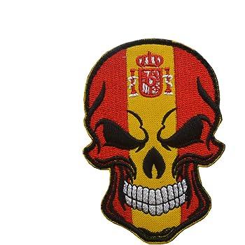 Parche bordado con diseño de calavera de España de Ohrong con bandera nacional de España, emblema de gancho y bucle para jeans, chaquetas, gorras, bolsos: Amazon.es: Hogar