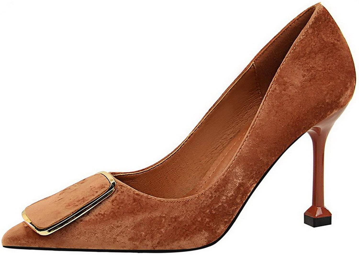 WeiPoot Women's Sequins High-Heels Pointed Closed Toe Solid Pull-On Pumps-shoes