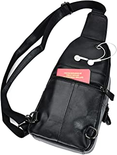 Genuine Leather Sling Backpack Crossbody Chest Day Pack Outdoor Travel Camping Tactical Daypack Shoulder Bags for Men 6027