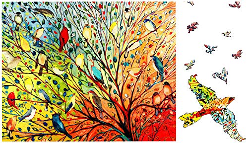 Magic Puzzle Wooden Jigsaw for Adults - Bird Jigsaw Puzzle with Unique Shaped 150 Pieces,Animal Puzzles for Adults and Kids Gifts(9x6.8in)