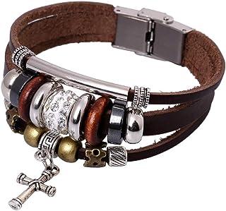Kdeemua Handmade Leather Bracelets Set for Men and Women Vintage Cross Beaded Braided Adjustable Wrap Cuff Bracelet