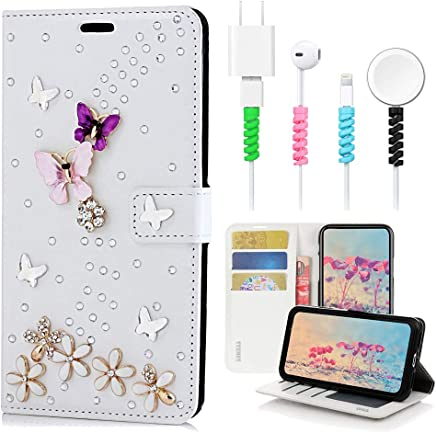 STENES Bling Wallet Case Compatible with Google Pixel 3a XL - Stylish - 3D Handmade S-Link Butterfly Floral Design Leather Cover with Cable Protector [4 Pack] - White