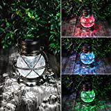 "Solar Lantern Outdoor Hanging Lights,7.6"" Retro LED Garden Solar Lantern with Handle for Pathway Yard Patio Tree Decor Waterproof Table Lamp (Bronze)"