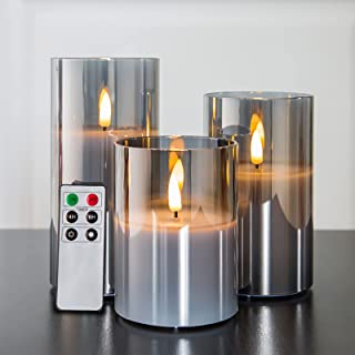 """Eywamage Glass Flameless Candles with Remote Battery Operated Flickering LED Pillar Candles Real Wax Wick 3 Pack D 3"""" H 4""""..."""