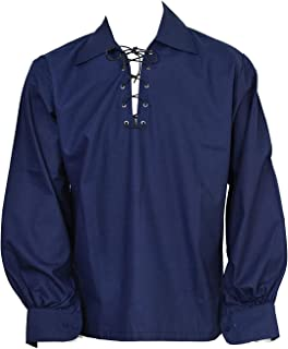 Scottish Navy Blue Jacobite Ghillie Kilt Shirt Leather Cord