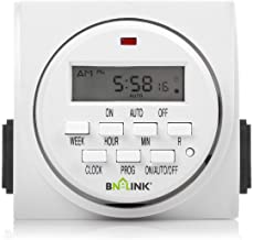 BN-LINK 7 Day Heavy Duty Digital Programmable Timer, FD60 U6, 115V, 60Hz, Dual Outlet, Indoor, Packaging May Vary For Lamp Light Fan Security UL Listed
