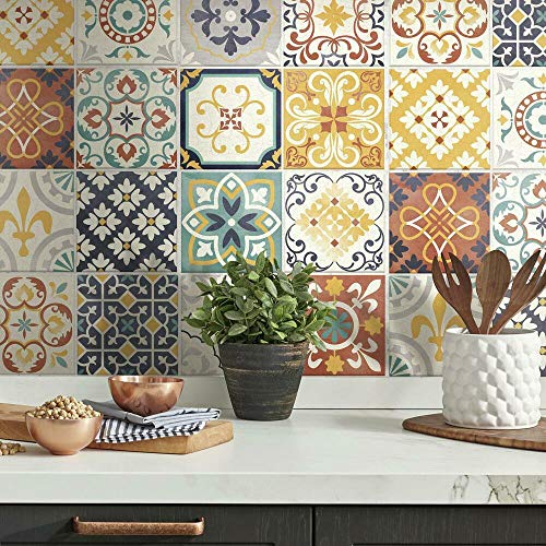 RoomMates StickTILES Spanish Terracotta Tile Peel and Stick Removable Backsplash