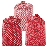 """3 Oversized Red Christmas Holiday Plastic Gift Bags 56""""x36"""" with Gift Tags for Xmas Parties Giving, Party Favors Supplies, Gift Wrapper, Heavy Duty Bags"""