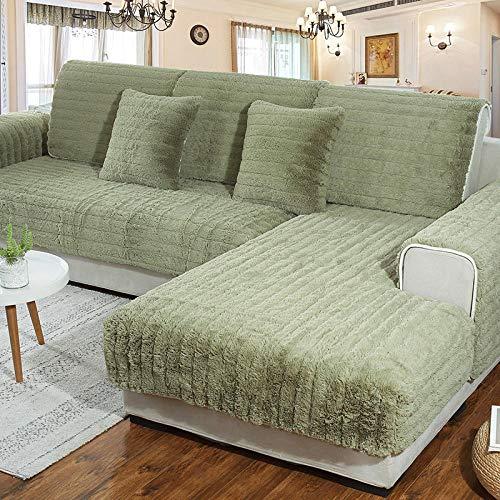 B/H Funda para sofá Antideslizante Moderno y Simple,Cojín de sofá de Tela Antideslizante de Felpa,Funda de sofá Gruesa Moderna-Green_70×120cm,Funda Sofa Suaves Resistentes