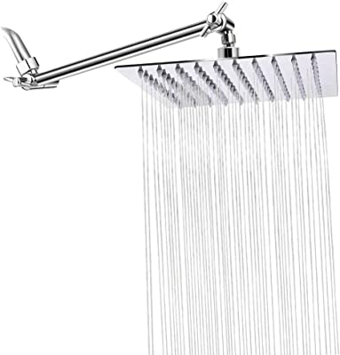 "Rain Showerhead with 11"" Adjustable Extension Arm, STrighter 8 Inch High Pressure Stainless Steel Square Rainfall Showerhead, Ultra Thin Waterfall Full Body Coverage Easy to Clean and Install"