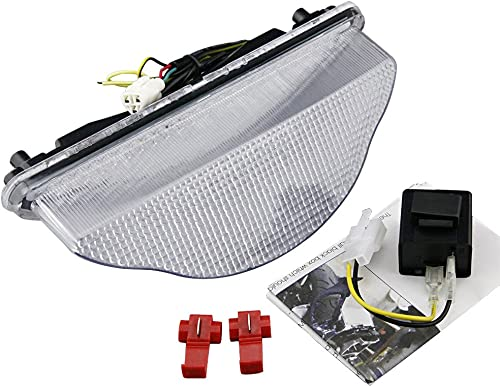 Mallofusa Motorcycle Integrated Taillight LED Brake Tail Light Compatible for Yamaha Warrior 2002 2003 2004 2005 2006 2007 2008 Clear Lens