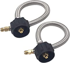 MENSI 12inch Pigtail Stainless Braided RV Regulator Propane Hose Connector with Type 1 Connection - Acme Nut x 1/4 Inch Inverted Male Flare- 1 feet (2 Pack)
