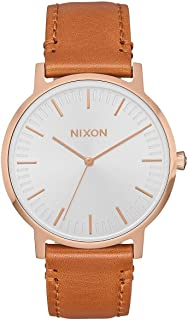 Porter Leather A1058 - Rose Gold/White/Saddle - 50m Water Resistant Men's Analog Classic Watch (40mm Watch Face, 20-18mm Leather Band)