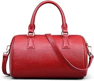Vintage Leather Handbag Black Cylinder One Shoulder Women's Bag Fashion Simple Wild Ladies Crossbody Bag(FM),A