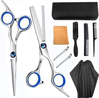 9pcs Hair Cutting Tool Hairdressing Kit Haircut Scissors Thinning Shear Comb Hairpin Bangs Trim Tool for Home Salon Barber Supplies Blue