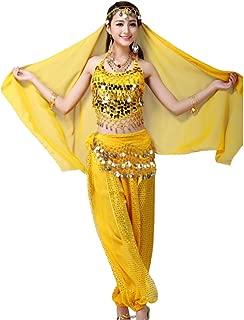 Fulision Women's Belly Dance Sequin Indian Dance Costume Halloween 4 Piece Set