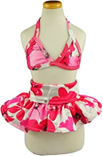 Fitwarm Stylish Pink Floral Pet Dog Bikini Swimming Dress Bathing Suit Summer Clothes, Pink